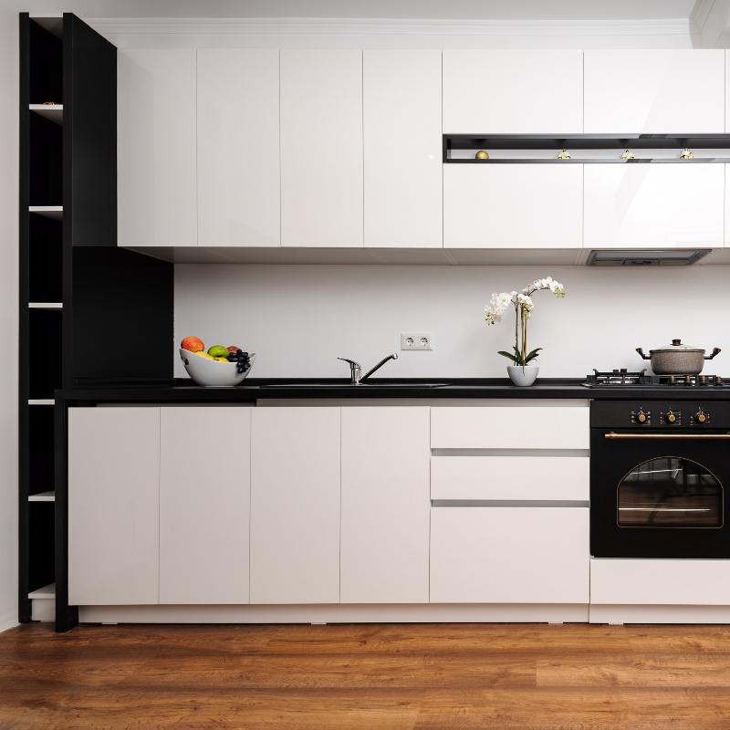 Premium Satin Black and White Kitchen Cabinets